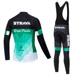 Conjunto Ciclismo Camisa Manga Longa Calça Bretelle