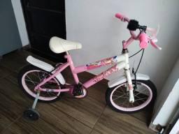 Bicicleta infantil aro 16 da Barbie com buzina