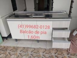 Pia e balcão de pia 1,60m com inox/NOVO