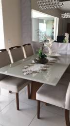 Mesa de Jantar Floripa Amendoa com Vidro Off White
