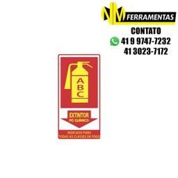 Título do anúncio: Placa Advertência Extintor Pó Químico Classe A-b-c Unidade