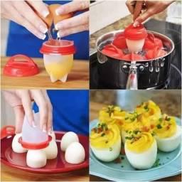 Conjunto Jogo Kit 6 Formas Copo Silicone Egg Boil Cozinhar Ovos