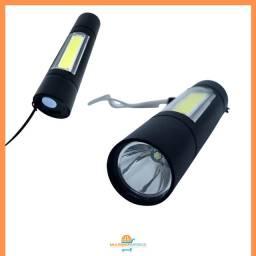 Mini Lanterna Tática Recarregável LED 3x1 com Luminária