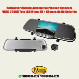 Retrovisor com câmera pioneer, segurança, filmadora, camera de ré