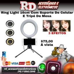 ILUMINANDOR RING LIGHT 16CM COM ADAPTADOR PARA CELULAR TRIPÉ DE MESA
