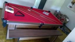 Mesa Charme de Redes   Mesa Imbuia   Tecido Vermelho   Modelo: KTBZ9514