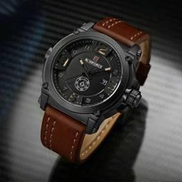 fb57df3a665 Relógio Masculino Naviforce Militar Esportivo Pulseira Couro