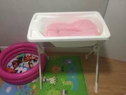 Banheira burigoto com almofada de banho e suporte