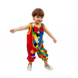 Fantasia Palhaço Infantil Macacão Colorido Carnaval Menino