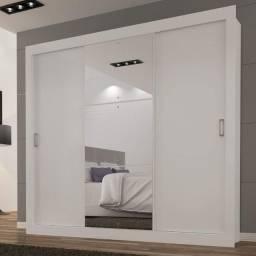 Guarda roupa casal 3 portas de correr com espelho- Produto novo
