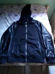 Jaqueta lã prensada e couro