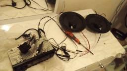 Radio pionner novo mixtrax e kit 2 vias bravox