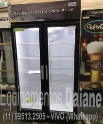 Pronta entrega Expositora 2 portas de vidro, refrigerador, geladeira vertical