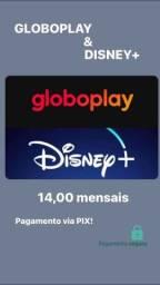 ACESSO GLOBOPLAY E DISNEY+ 14,00