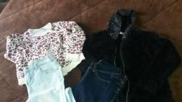 Vendo lote de roupas por 50 reais: 2 calças jeans e 2 casacos tam. 8 e 10