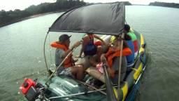 Barco Bote Inflável Com Copleto Capota/Lona/Sombreiro - Completo - Só diversão
