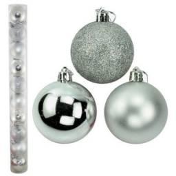 Bola de natal prata mista 5cm c/12