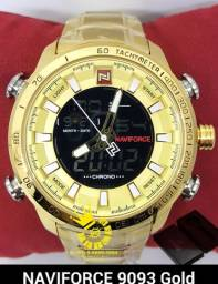 4f519f86f06 Relógio Naviforce 9093 Militar Ouro Aço Resistente água 3ATM Entrega  Grátis  996953694