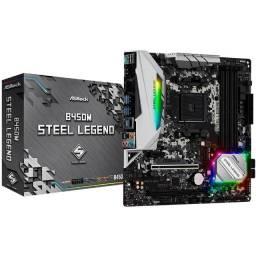 Placa Mãe ASRock B450M Steel Legend DDR4 AM4 mATX - Nova