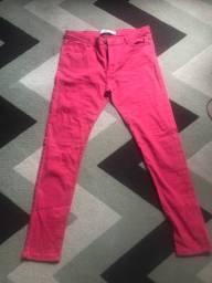 Calça jeans skinny rosa/vermelha TNG tam 42
