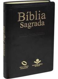 Bíblia Sagrada Nova Almeida Atualizada Capa Couro Preta