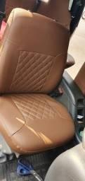 capas de banco de couro sintetico marron para s10