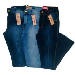 Calças Jeans femininas Skinny e Flare cintura alta qualidade Premium kit 3 peças Promoção