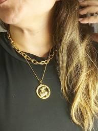 Gargantilha Folheada A Ouro Com Medalhão de São Jorge