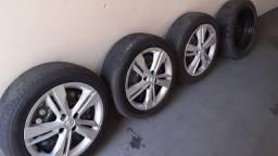 Rodas ferro aro 16 furação 4x100 c/ pneus perfil baixo