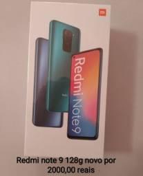 Celular redmi note 9 128 g NOVO por 1800,00
