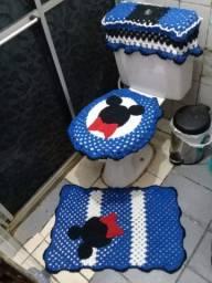 Kit de banheiro de crochê Minnie e Mickey