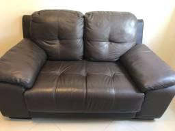 Sofa em couro cappuccino (legítimo)