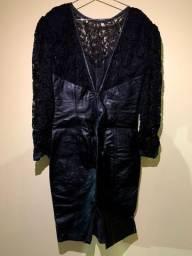 Vestido de couro e renda preto