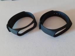 Kit 2 pulseiras silicone preta para smartwatch mi band 5