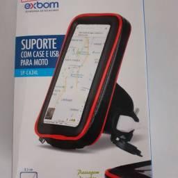 Suporte para celular. Com case e USB para moto.  Novo . R$ 90,00