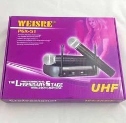 Kit Microfone Sem Fio Duplo Weisre no PGX-58 UHF Profissional Bivolt 110 ou 220v