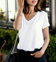 Camiseta Branca Básica Gola V Lisa Feminina