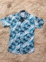 Camisa Social Masculina Florida Manga Curta Azul
