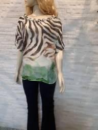 Blusa estampa Animal Print Morena Rosa