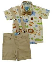 Conjunto Roupa Festa Infantil Safari Bege com Suspensorio e Gravata