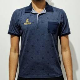 Camisa Pólo Azul Estampada