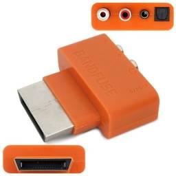 Conversor Adaptador Áudio Óptico Rca P2 Para Xbox 360