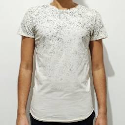 Camiseta Bege Alongada Estampada