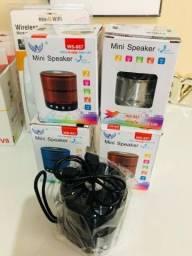 Mini Caixa De Som Speaker Ws-887 Com Bluetooth, Fm, Entrada Micro Sd, auxiliar e USB