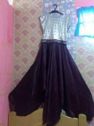 Vestido dança gesto cor prata com lilás
