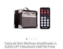 Caixa de som multiuso amplificada LL áudio up! 5 bluetooth usb preta FM