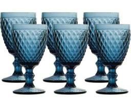 Jogo 6 Taças Tok House Vidro Azul 300ml Novas na Caixa