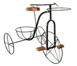 Bicicleta Artesanal Porta Vaso Em Ferro E Madeira Jardim Flores