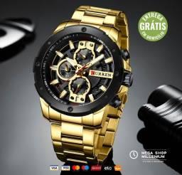 Relógio de Pulso Masculino Luxo Quartzo Esportivo Aço Inoxidável