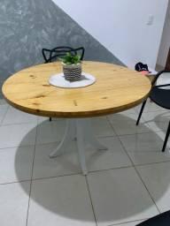 Mesa de jantar redonda madeira pinus
